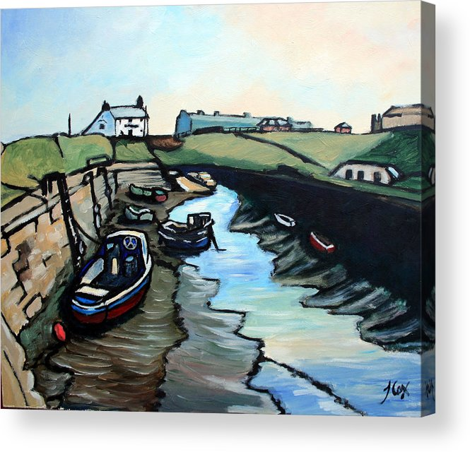 Seascape Acrylic Print featuring the painting Seaton Sluice Harbour by John Cox