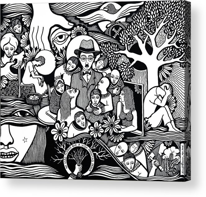 Drawing Acrylic Print featuring the drawing Sleep Not To Have Desire Nor Hope by Jose Alberto Gomes Pereira