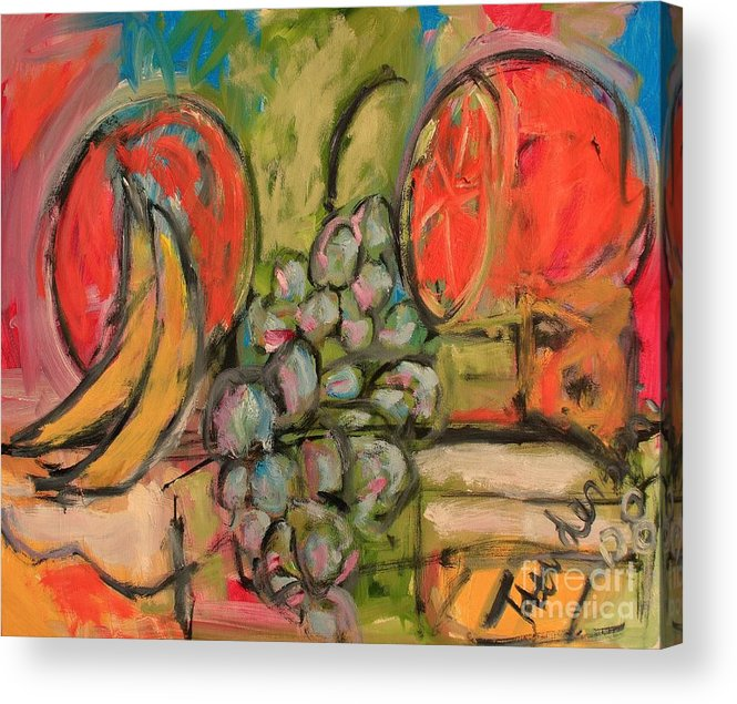 Stil Life Acrylic Print featuring the painting Still Life With Big Orange by Michael Henderson