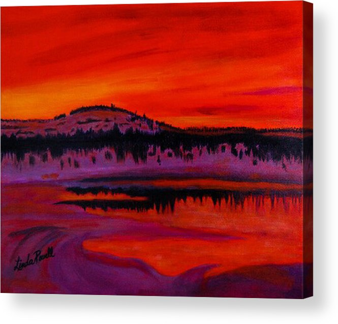 24 Inch Abstract Acrylic Landscape Red Purple Black Yellow Mountains Trees Lake Reflections Acrylic Print featuring the painting Sunset by Linda Powell