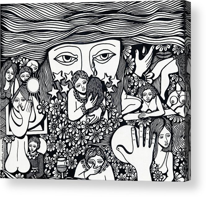 Drawing Acrylic Print featuring the drawing Surround Yoursel With Roses Love Drink And Be Silent The More Is Nothing by Jose Alberto Gomes Pereira