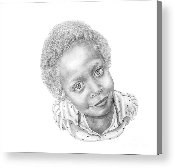 Portrait Acrylic Print featuring the drawing Sweet Eyes by Murphy Elliott