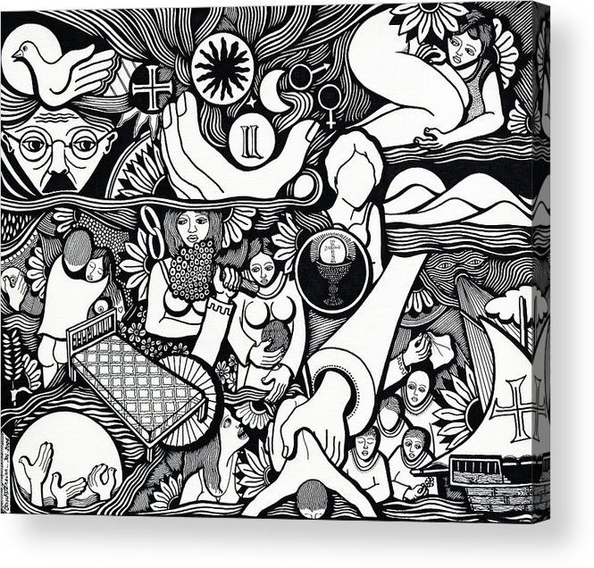 Drawing Acrylic Print featuring the drawing Symbols I Am Sick Of Symbols by Jose Alberto Gomes Pereira