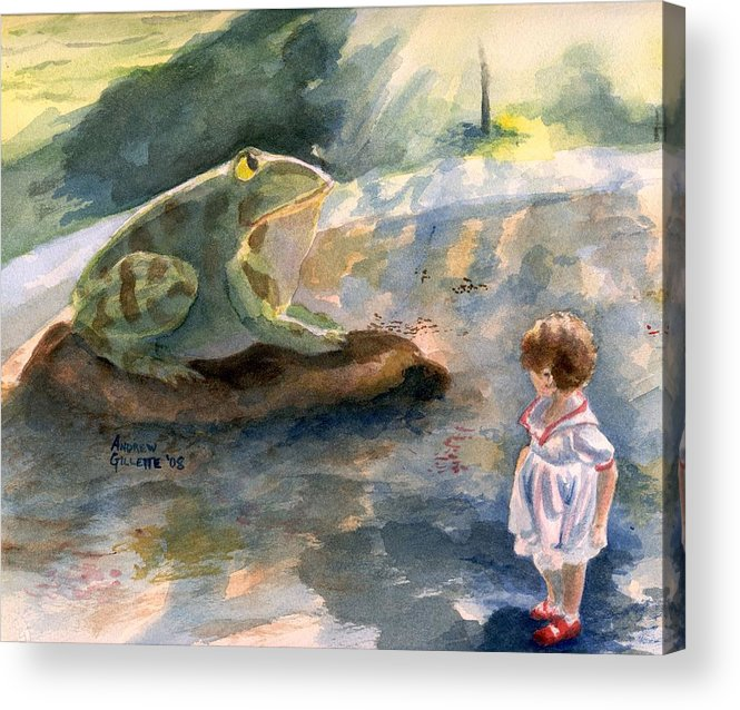 Child Acrylic Print featuring the painting The Magical Giant Frog by Andrew Gillette