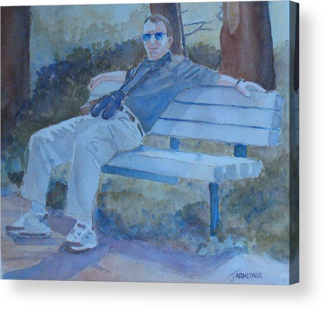 Tourists Acrylic Print featuring the painting Tourist At Rest by Jenny Armitage