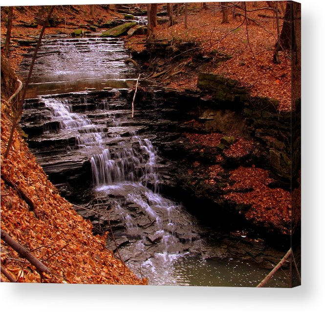 Cleveland Acrylic Print featuring the painting Urban Waterfall by Scott Heaton