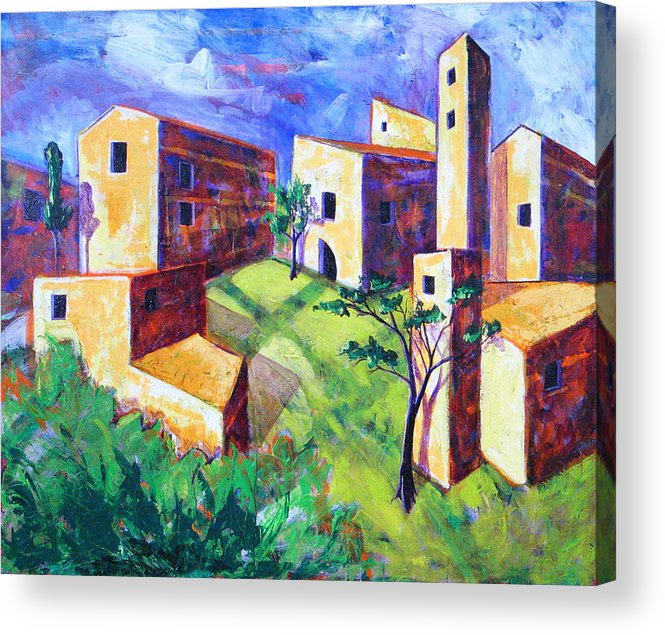 Landscape Acrylic Print featuring the painting Villa by Rollin Kocsis