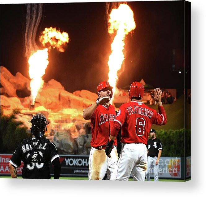 People Acrylic Print featuring the photograph Chicago White Sox V Los Angeles Angels by Jayne Kamin-oncea