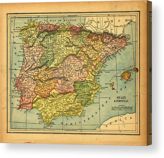 Weathered Acrylic Print featuring the photograph Spain & Portugal Vintage Map by Belterz