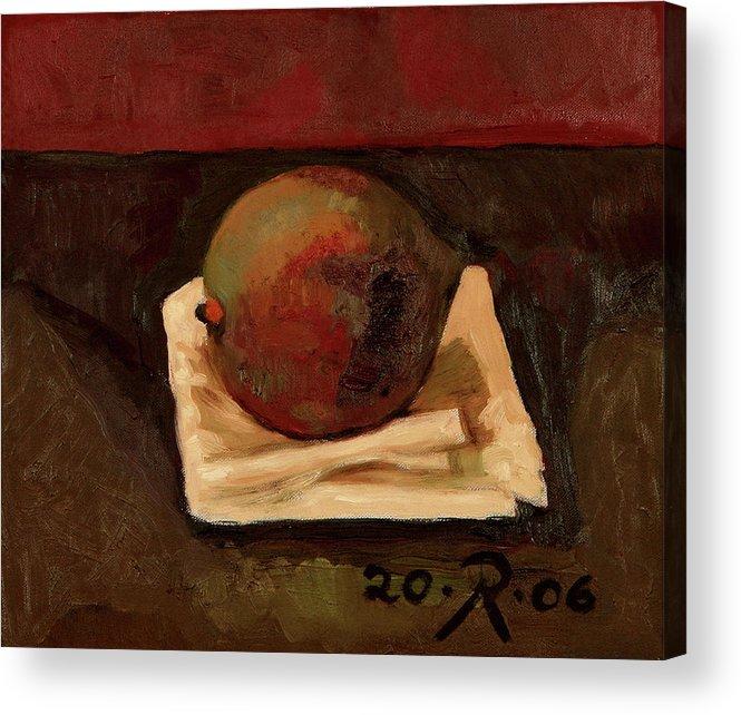 Still-life Red Green Mango Drapery Fruit Acrylic Print featuring the painting One Fruit by Raimonda Jatkeviciute-Kasparaviciene