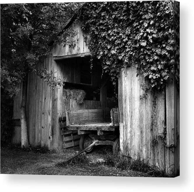 Black And White Photography Acrylic Print featuring the photograph Old Barn And Wagon by Julie Dant