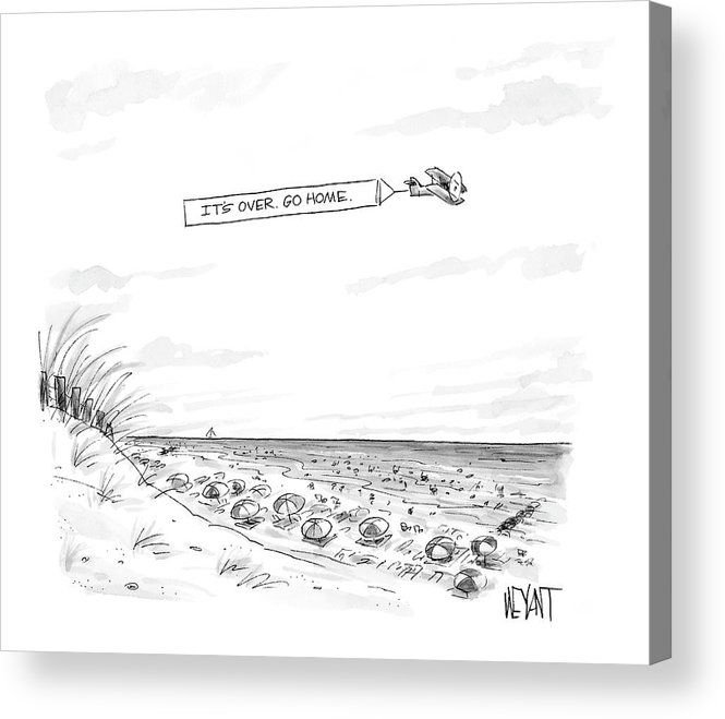 Seasons Summer Seashore  (plane Flying Over Crowded Beach With Message That Reads Acrylic Print featuring the drawing New Yorker September 12th, 2005 by Christopher Weyant