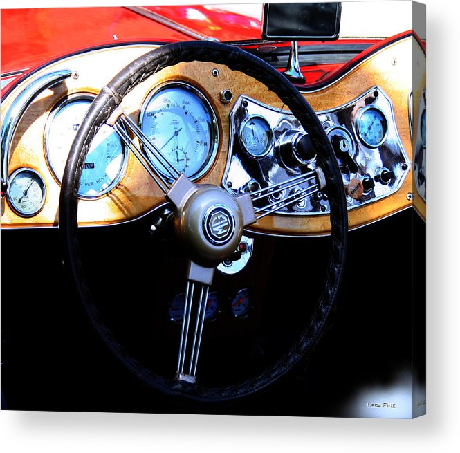 1951 Acrylic Print featuring the photograph 1951 Mg Td Dashboard by Lesa Fine