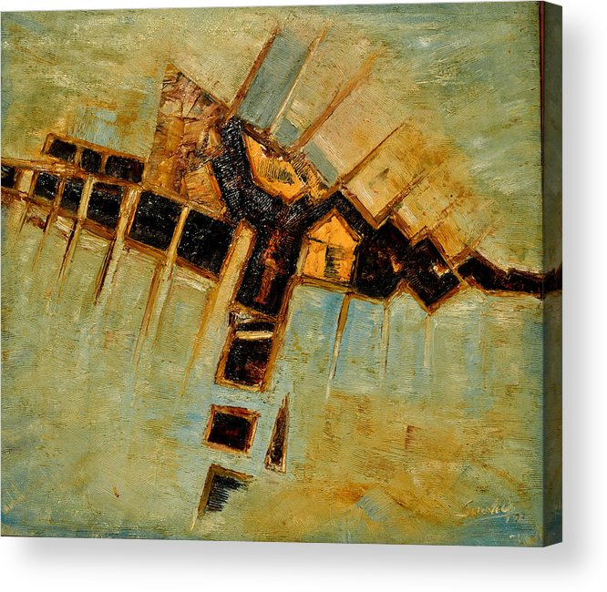 Abstract-5space Abstraction Paintings On Canvas In Oils Land Scape In Oils Abstracts Acrylic Print featuring the painting Abstract-5 by Anand Swaroop Manchiraju