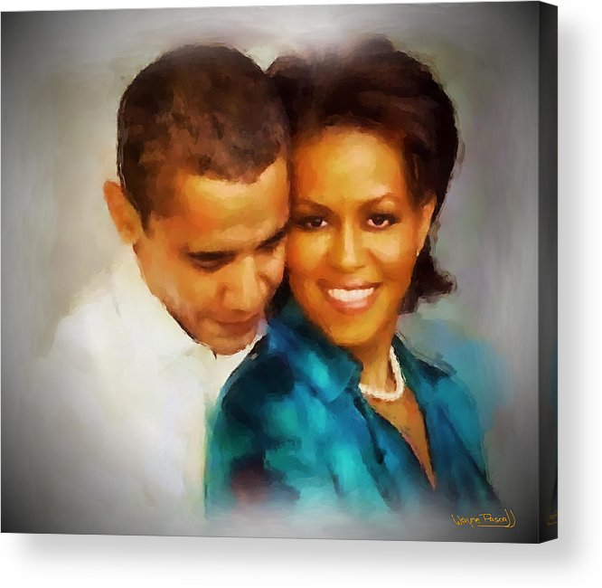 Barack Obama Acrylic Print featuring the painting Barack And Michelle by Wayne Pascall