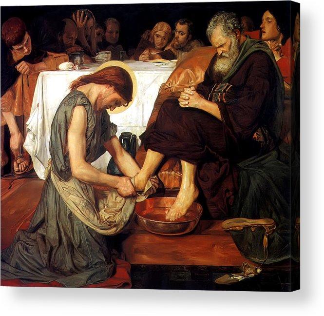 Christ Washing Peter's Feet Acrylic Print featuring the painting Christ Washing Peter's Feet by Ford Madox Brown