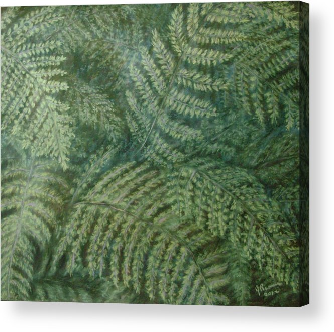 Pastel Acrylic Print featuring the pastel Fern Frenzy by Joann Renner