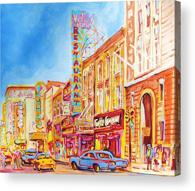 Paintings Of Montreal Acrylic Print featuring the painting Saint Catherine Street Montreal by Carole Spandau