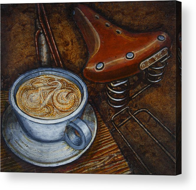 Coffee Acrylic Print featuring the painting Still Life With Ladies Bike by Mark Howard Jones