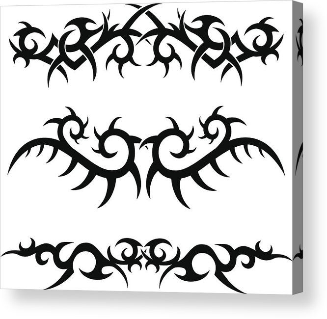 29ee6ac53 Gothic Style Acrylic Print featuring the drawing Tribal Tattoo Designs by  Pirateink