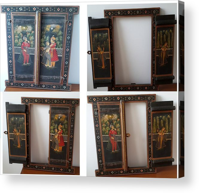 Wooden Window Used As A Voil Hanging Acrylic Print featuring the painting Window Wall Hanging by Palli Ritu