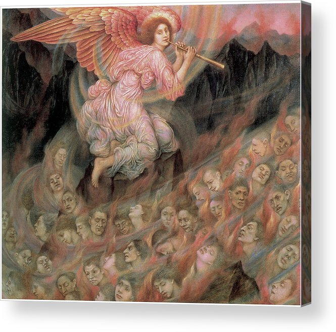 Evelyn De Morgan Acrylic Print featuring the painting An Angel Piping To The Soulds In Hell by Evelyn De Morgan