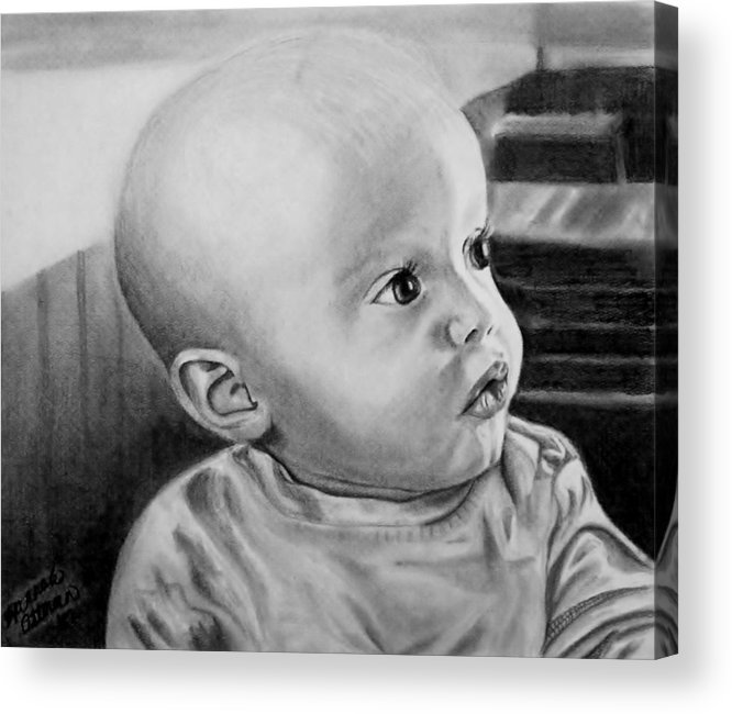 Portrait Acrylic Print featuring the drawing Baby Carter by Hannah Ostman