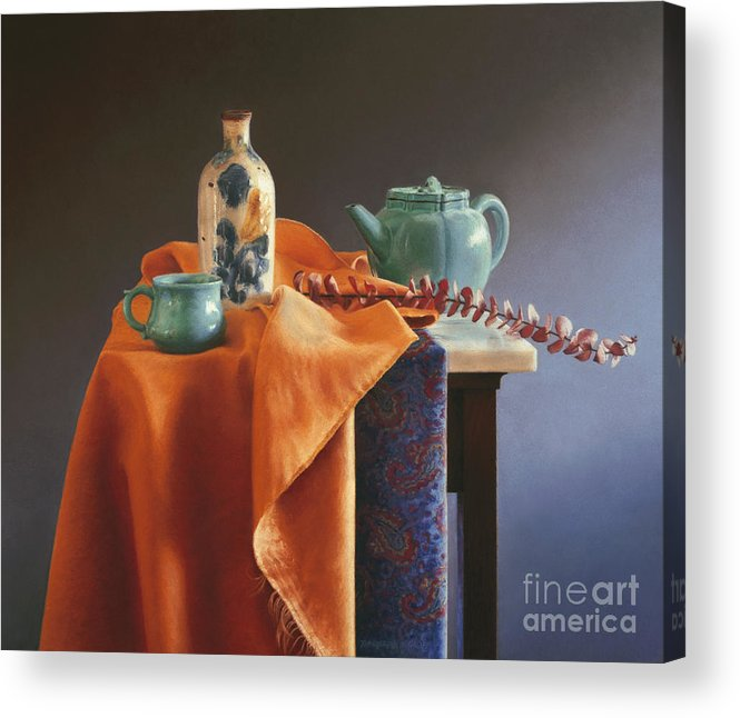 Still Life Acrylic Print featuring the painting Glazed With Light by Barbara Groff