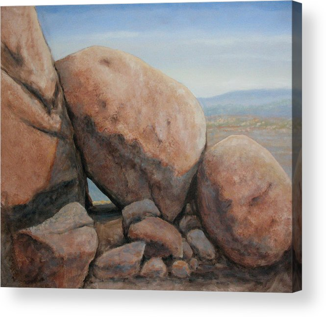 Desert Acrylic Print featuring the painting Leaning Rocks by Rik Erickson