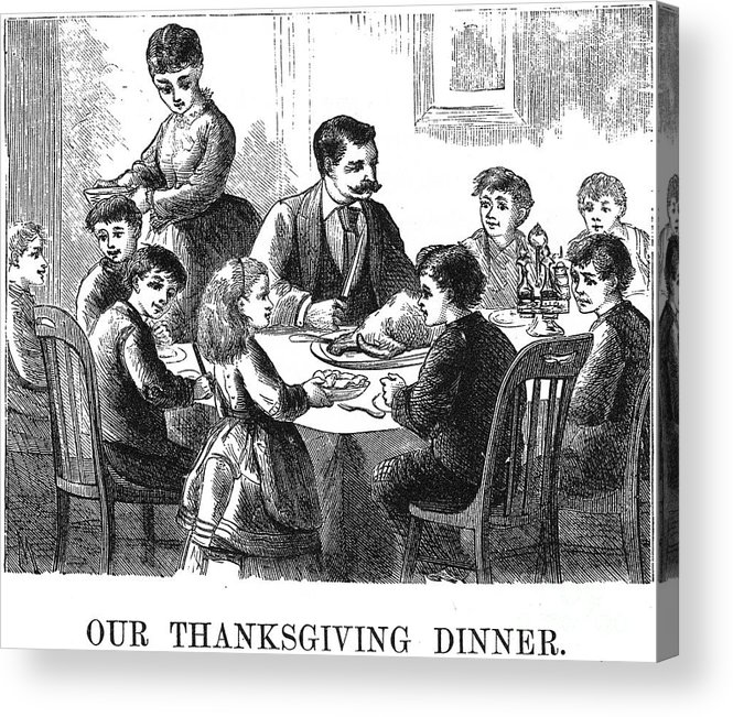 1873 Acrylic Print featuring the photograph Thanksgiving Dinner, 1873 by Granger