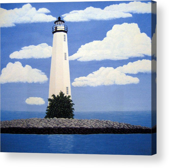Lighthouse Paintings Acrylic Print featuring the painting New Point Comfort Lighthouse by Frederic Kohli
