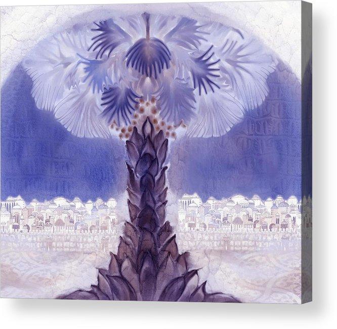 Jerusalem Acrylic Print featuring the digital art Jerusalem- Tryptich Part 2 by Sandrine Kespi