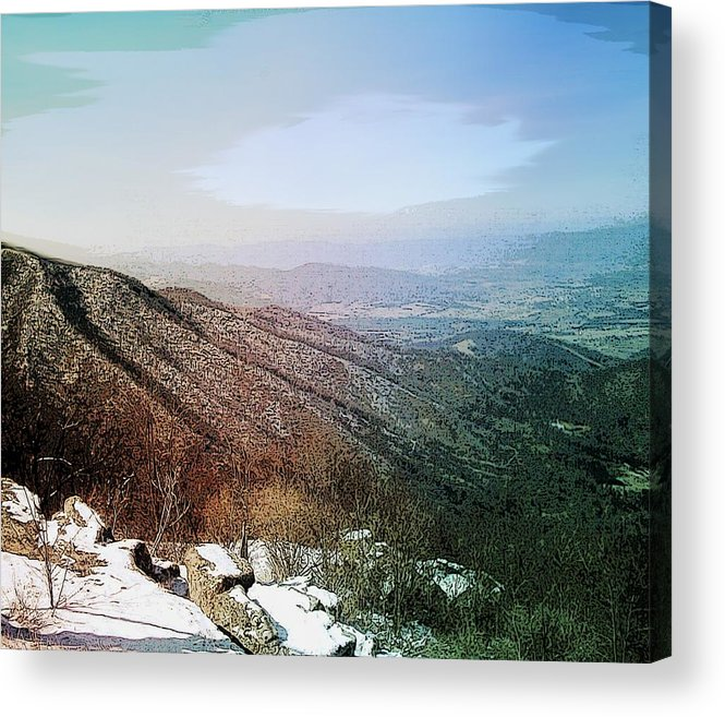 Blue Ridge Mountains Shenandoah Valley Virginia Usa Landscape Panorama Trees Rocks Snow Winter Sky. Acrylic Print featuring the photograph Blue Ridge by Susan Epps Oliver
