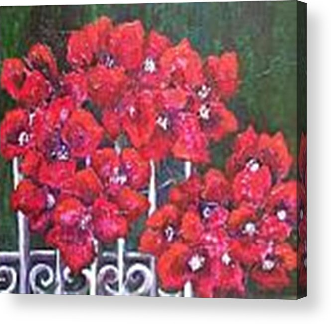 Acrylic Print featuring the painting Bounganvillia On Fence by Carol P Kingsley