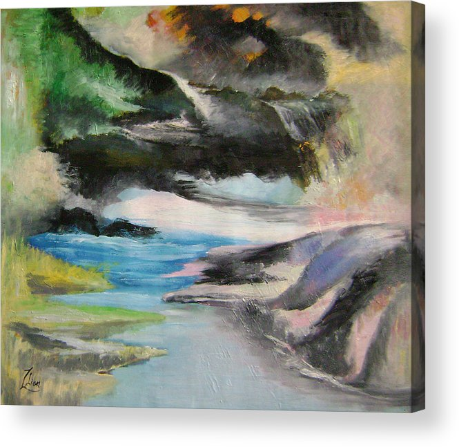 Abstract Acrylic Print featuring the painting Chinese Landscape 1 by Lian Zhen
