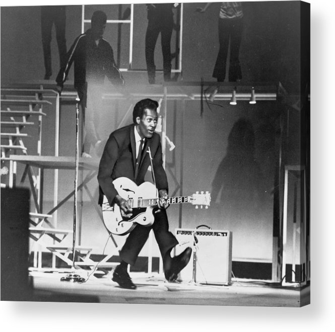History Acrylic Print featuring the photograph Chuck Berry B. 1926 On Stage, Playing by Everett