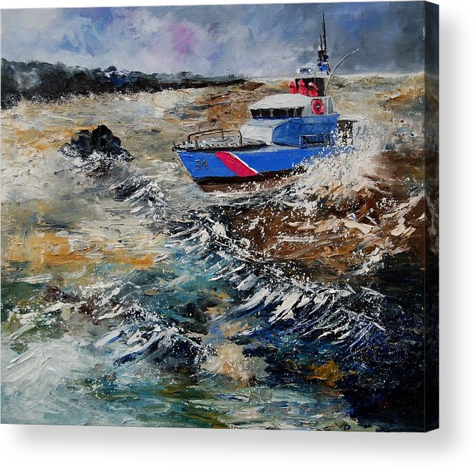 Sea Acrylic Print featuring the painting Coastguards by Pol Ledent