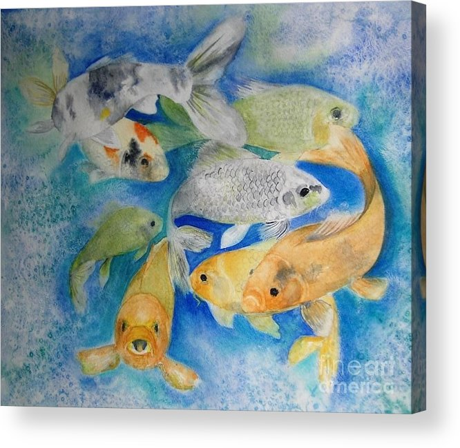 Water Acrylic Print featuring the painting Coy Koi by Vivian Mosley