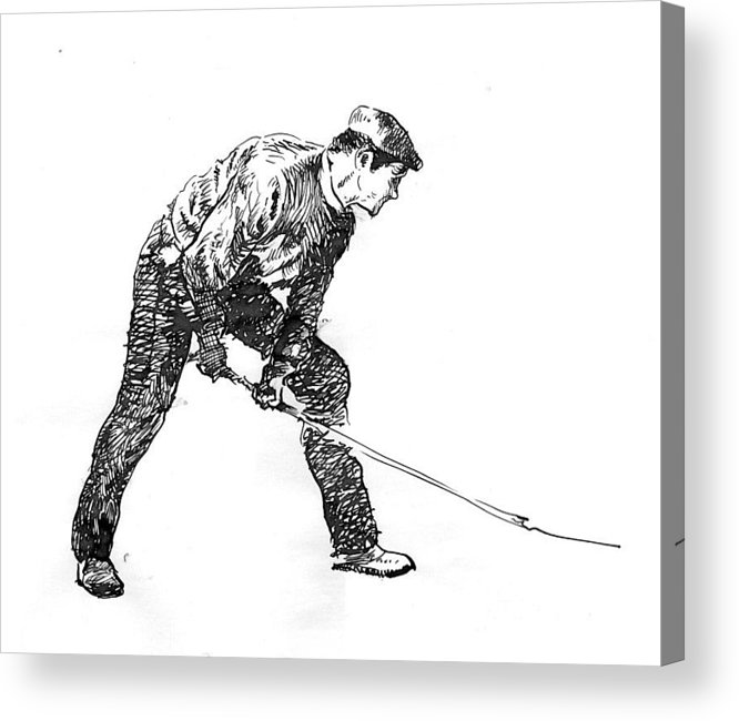 Figurative Acrylic Print featuring the drawing Digging. by Jose Carvalhosa