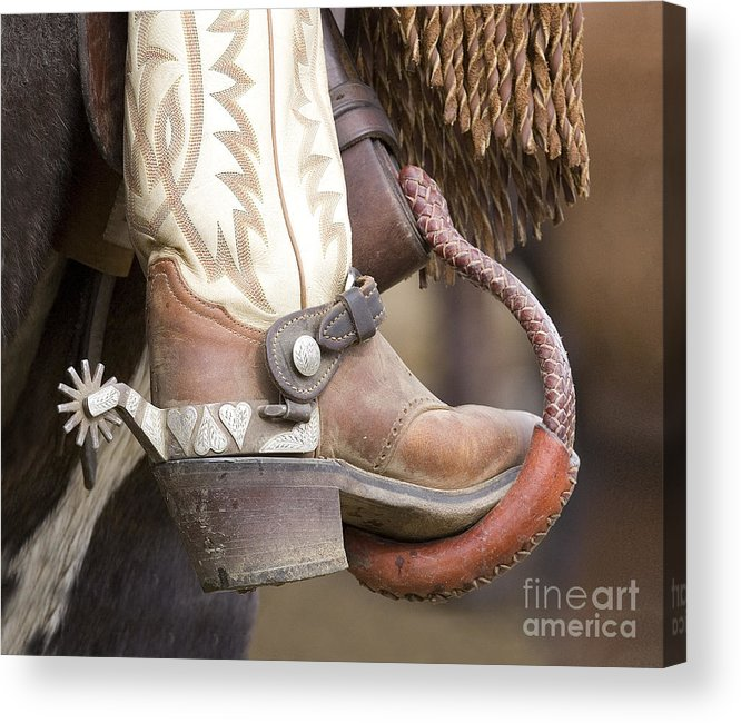 Cowboy Acrylic Print featuring the photograph Fancy Foot by Carol Walker
