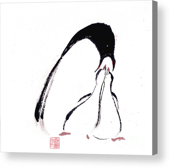 An Adult Penguin Feeding The Babies. This Is A Contemporary Chinese Ink And Color On Rice Paper Painting With Simple Zen Style Brush Strokes.  Acrylic Print featuring the painting Feeding by Mui-Joo Wee
