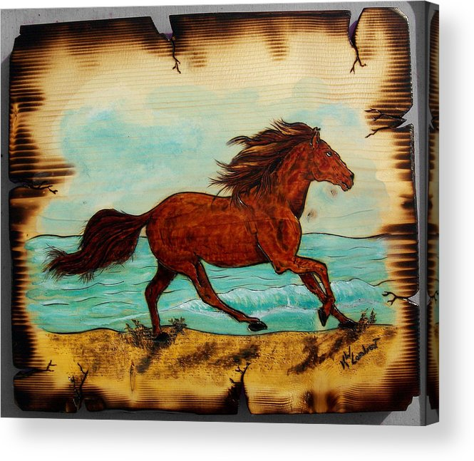 Horse Acrylic Print featuring the mixed media Freedom by Kenneth Lambert