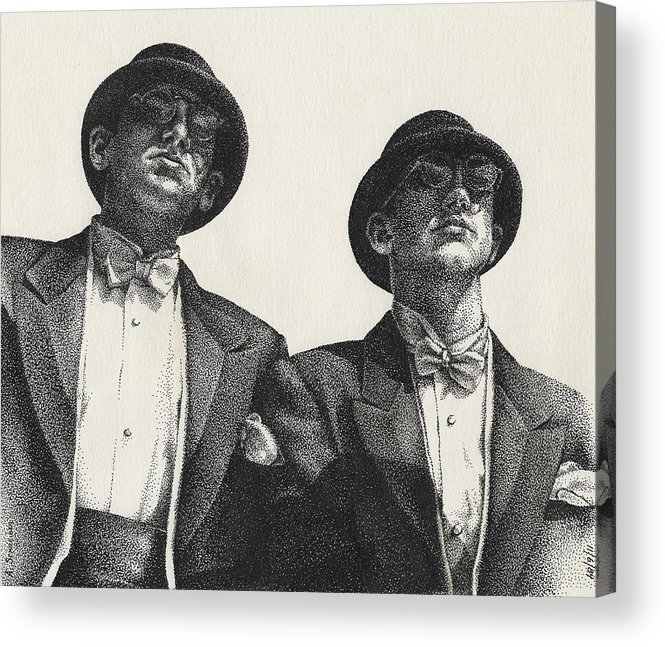 Male Acrylic Print featuring the drawing Gents by Amy S Turner