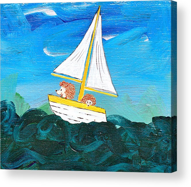 Animals Acrylic Print featuring the painting Hedgehogs Go A Sailing-oh by Kerry Hartjen