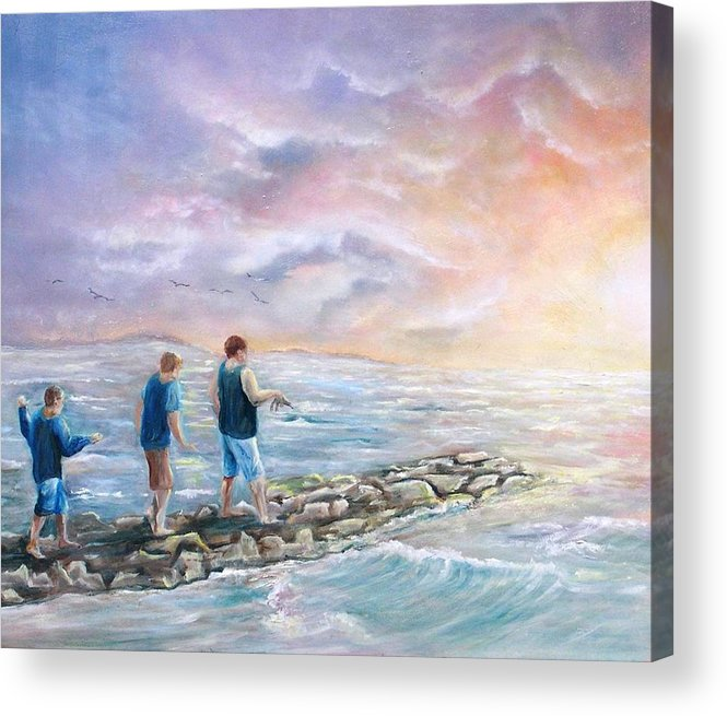 Seascape Acrylic Print featuring the painting Into The Sunset by Renee Dumont Museum Quality Oil Paintings Dumont
