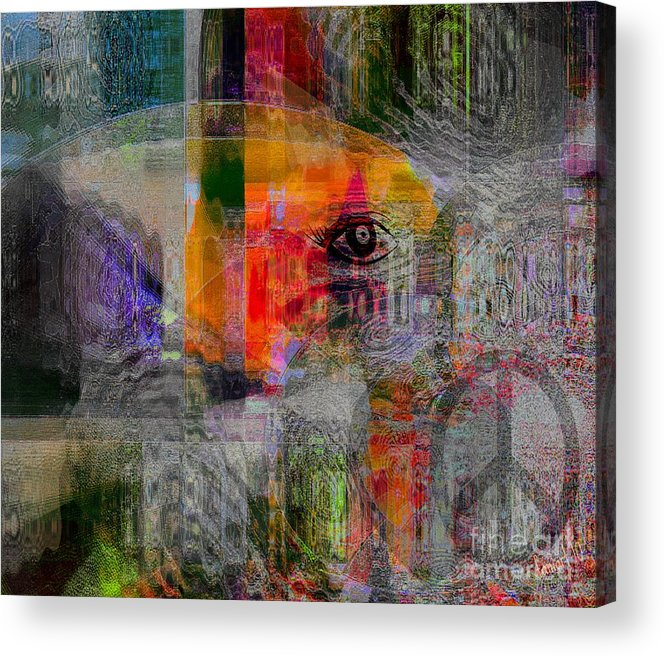 Fania Simon Acrylic Print featuring the mixed media Intuitional Abstract by Fania Simon