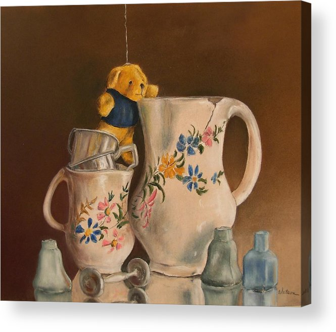 Still Life Acrylic Print featuring the painting Just Hanging Around by Ceci Watson