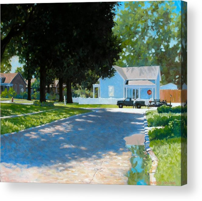 Street Scene Acrylic Print featuring the painting Lawn Man by Kevin Lawrence Leveque