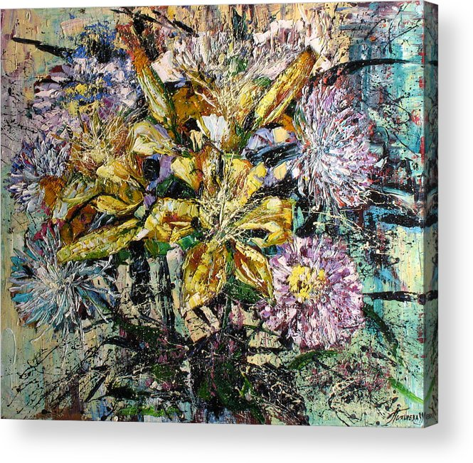 Still Life Acrylic Print featuring the painting Lilies And Chrysanthemums.1999 by Natalia Piacheva