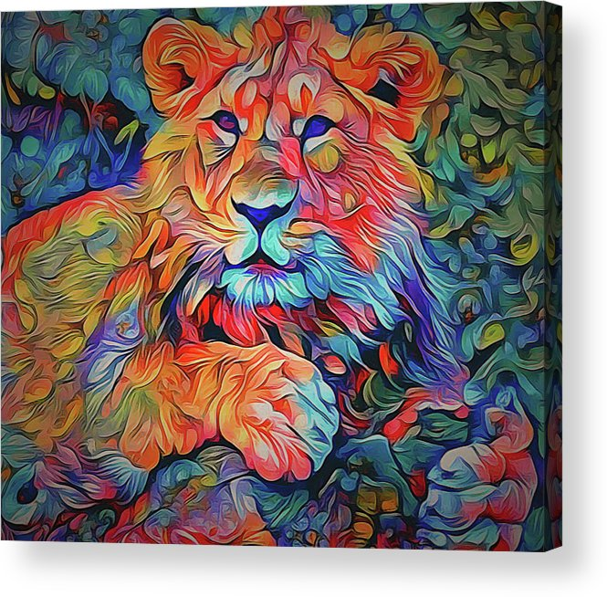 Lion Acrylic Print featuring the digital art Lion In Burst by Yury Malkov